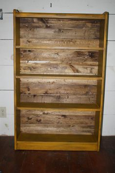 Mustard Bookcase w/ pallet wood