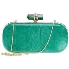 Pre-owned Marchesa Lily Box Snakeskin Green Clutch