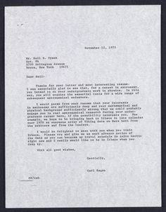 Carl Sagan Writes a Letter to 17-Year-Old Neil deGrasse Tyson (1975)