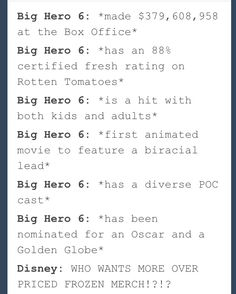 Don't get me wrong, I love Frozen but I want more Big Hero 6 to get more credit and merchandise than it is right now