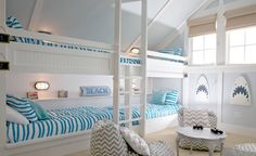 Stripes and sharks make cool bunks ~ House of Turquoise: Happy Place Beach House House Of Turquoise, Bedroom Themes, Bedroom Decor, Master Bedroom, Ocean Bedroom, Bedroom Kids, Bunk Rooms, Coastal Bedrooms, Shared Bedrooms