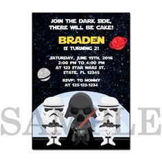 PB0002 STAR WARS PRINTABLE BIRTHDAY PARTY INVITATION CARDS the Star Wars The force awakens