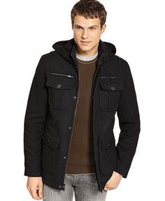 Guess Coats, Military Style Hooded Pea Coat - Mens Coats & Jackets - Macy's