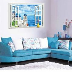 Aegean Sea Fake Window Sticker Wall Decals Wall Art Wallpaper Murals Wall Stickers >>> Visit the image link more details. Wall Stickers Romantic, Wall Stickers Home Decor, Wall Stickers Murals, Wall Murals, Window Mural, Window View, Room Window, Window Decals, Wall Art Wallpaper