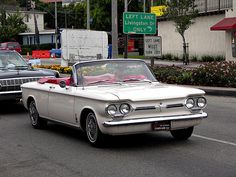 1962 Chevrolet Corvair Spyder convertible. This car had a 150 hp, 150 cubic inch air cooled engine with a four barrel Carter carburetor and a GM Turbocharger.
