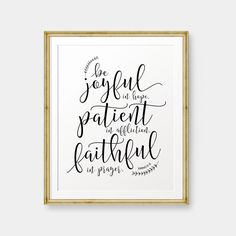 Be joyful in Hope, Romans 12:12 printable, Bible Verse art print, Christian wall art, Scripture Printable - Digital Download by PrintableSky on Etsy https://www.etsy.com/listing/252767666/be-joyful-in-hope-romans-1212-printable