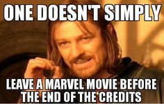 One does not simply........ leave a marvel movie before the end of the credits.