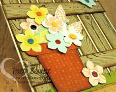 Use the Sweet Sorbet designer paper to punch out or cut out flowers for this fence card. by Patty Bennett, www.PattyStamps.com