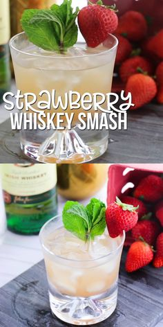 Food And Drink 230598443406456777 - A smooth and fruity whiskey drink that even non-whiskey drinkers will enjoy, this Strawberry Whiskey Smash tastes like a strawberry lemonade – for grown-ups only! Source by jennifertammy Thanksgiving Drinks, Christmas Drinks, Holiday Drinks, Strawberry Cocktails, Strawberry Lemonade, Strawberry Summer, Strawberry Smoothie, Whiskey Smash, Bruschetta Bar