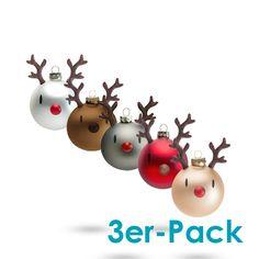 Hoptimist Christmas Reindier Ornaments - Weihnachtskugeln, Rentiere
