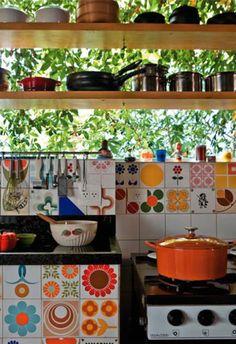 Brazilian patchwork tiled kitchen: remodelista