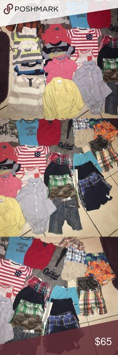 Bundle of little boy clothes 12mon,18mon, 12-18mon A bundle of little boy clothes 12mon,18mon and 12-18mon.... Different brands of clothes polo(Ralph Lauren), baby gap, nautical, carter, old navy, one pair of Levi jeans, Osh kosh ,toughskins,a pair of Nike shorts.... All together is 32pieces 16 tops 14 bottoms and 2 swim trucks Other