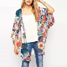 Delicious Women Chiffon Vintage Print Tops Blouse Beach Cover Up Loose O Neck Batwing Sleeve Kimono Shirt 2018 Summer Chic Female Tops Women's Clothing