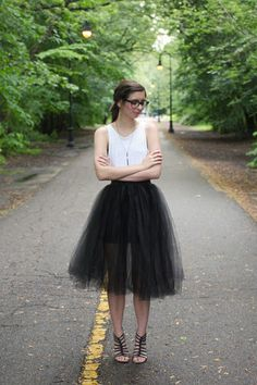 Tulle and a tank: a fun take on black  white! Click for similar pieces. #stylegallery