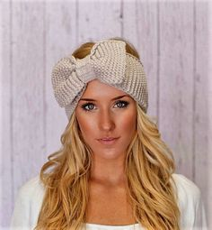 Knitted Bow Headband LARGE Bow Ear Warmer