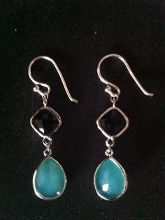 Faceted Mint and Onyx Glass Stones Dangle earring by SwamiJewelry, $28.00