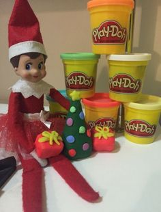 Elf on the Shelf with play-doh. For other fun Elf ideas join Moss and Mulberry on Facebook at http://www.facebook.com/groups/aroundthemulberrybush