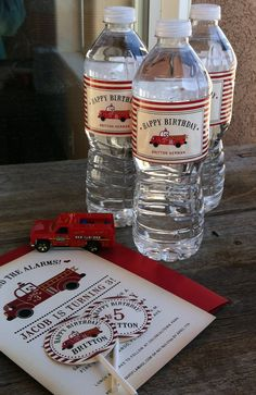 Fire truck water bottle labels, cupcake toppers and invitation.