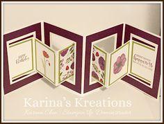 Stampin'Up Painted Poppy Fancy Fold Card by Karina Chin Handmade Birthday Cards, Happy Birthday Cards, Greeting Cards Handmade, Card Making Templates, Card Making Tutorials, Pop Up Card Templates, Fancy Fold Cards, Folded Cards, 3d Cards