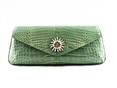 Leu Locati exotic crocodile handbag with Swarovski gem