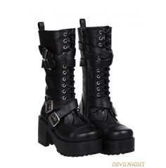 Buckle Belt Lace Up Boots | $132.98