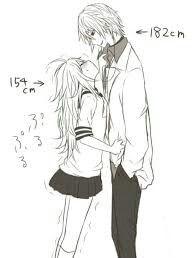 anime short girl and tall boy couple