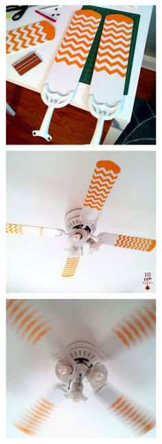 A ceiling fan livened up with the use of applied vinyl in a new babies room. This was developed to create a pattern as it rotated to garner the babies interest as it lay in its crib.