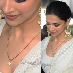 Deepika Padukone in a simple black beads mangalsutra chain with solitaire diamond pendant, deepika padukone mangalsutra design Indian Wedding Jewelry, Bridal Jewelry, Gold Jewelry, Indian Bridal, Jewelery, Beaded Jewelry, Stone Jewelry, Diamond Mangalsutra, Jewelry