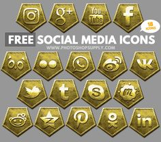 Free Social Media Icons 2018 Gold Free Photoshop, Photoshop Tutorial, Social Media Icons, Social Networks, Post Date, Design Projects, About Me Blog, Bronze, Gold