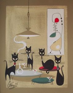 Sold for $191/12.  El Gato Gomez Painting Retro 1950s Cat Mid Century Modern Beatnik Martini Eames | eBay