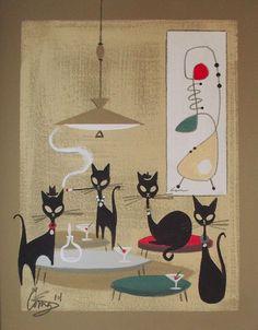 Sold for $191/12.  El Gato Gomez Painting Retro 1950s Cat Mid Century Modern Beatnik Martini Eames | eBay