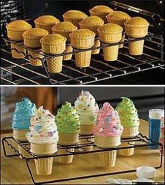Ingredients  1 box Betty Crocker® SuperMoist® party rainbow chip cake mix Water, vegetable oil and eggs called for on cake mix box 24 flat-bottom ice cream cones