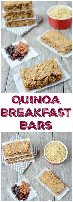 Packed with protein and healthy fats, this recipe for Quinoa Breakfast Bars is easy to prep ahead of time and makes the perfect grab and go breakfast on a busy morning.