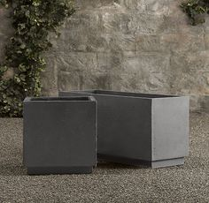 """Weathered Cast Stone Cube Planters; Cube Overall: 18"""" sq., 18""""H ($155); Trough Overall: 38""""W x 14""""D x 18""""H ($266) [3 troughs + 1 sq = $1100]"""