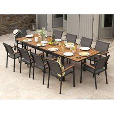 Salon de jardin 8 places table à rallonge extensible 175/245cm alu ...