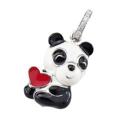 Aaron Basha 18kt White Gold Black & White Enamel Panda with Red Heart ($1,800) ❤ liked on Polyvore featuring jewelry, black and white jewelry, animal charms, sparkle jewelry, panda jewelry and enamel heart charm