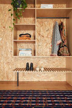 Alana Cooke. exposed strandboard Plywood Interior, Plywood Furniture, Furniture Design, Studio Interior, Interior Design, Osb Board, Plywood Cabinets, Structural Insulated Panels, House Shelves