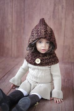 Hoodie Cowl CROCHET PATTERN Toddler & Girls The GINGER From the Danica Collection 2 sizes 2-10 years