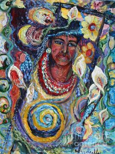 Aztec Garden is a signed 40x30 inch, acrylic on canvas with gallery edges by artist Avonelle Kelsey (1931-2009).