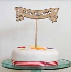 Wooden Cake Toppers, Mr And Mrs Smith, Personalized Wedding Cake Toppers, Wedding Cakes, My Etsy Shop, Birthday Cake, Desserts, Food, Wedding Gown Cakes