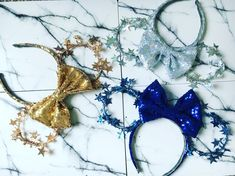 And feel free to mix and match bow colours. Mickey Ears, Sparkle, Bows, Colours, Stars, Unique Jewelry, Handmade Gifts, Etsy, Magic