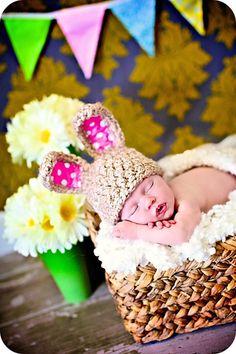 Newborn Baby Girl Photo Prop Bunny Ears Hat by MitziKnitz on Etsy, $25.00
