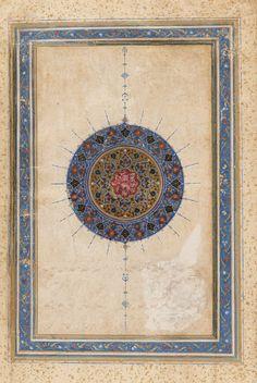 Arts of the Islamic World | Folio from a <i>Khusraw u Shirin</i> by Nizami (d.1209); recto: Sun-burst medallion (Shamsa); verso: text: Unwans | F1931.37