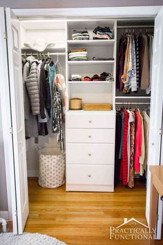 His And Hers Master Closet Makeover Reveal Give your master closet a DIY custom makeover in just one weekend with Easy to design, easy to install! Bedroom Closet Design, Master Bedroom Closet, Closet Designs, Small Closet Design, Small Master Closet, Small Closets, The Closet, Easy Closets, Dresser In Closet