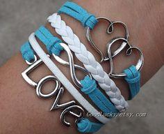 Telesthesia Infinity LOVE lovers bracelet-silver infinity,LOVE,Heart bracelet-white,blue wax rope and white braided leather bracelet