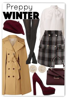 Discover outfit ideas for Preppy Winter Wear made with the shoplook outfit maker. How to wear ideas for small Mystic handbag and RED Valentino Ruffled Blouse Preppy Fall Fashion, Preppy Winter Outfits, Preppy Look, Winter Fashion Outfits, Preppy Style, Classy Outfits, Chic Outfits, Polyvore Winter Outfits, Gossip Girl Outfits
