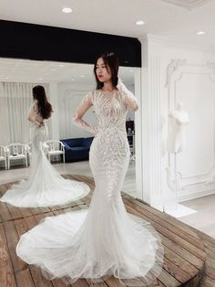6fd07cbbaee0 Mermaid Wedding Dress/ Long Sleeves/ Unique Floral Lace/ Sexy Bridal Gown