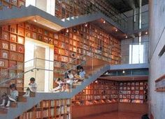 The Picture Book Library in Iwaki City, Japan. Designed by Japanese architect Tadao Ando