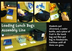 Loading Lunch Bags Assembly Line {easy to set up pre-vocational work task for children with autism}