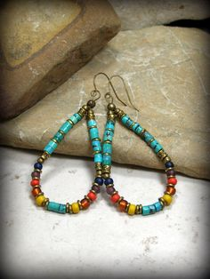 Turquoise Earrings, Tribal Jewelry, Turquoise Heishi, Beaded Hoop Earrings, Large Earrings, Tribal Earrings, Bohemian Earrings, Boho Jewelry by StoneWearDesigns on Etsy https://www.etsy.com/listing/212606565/turquoise-earrings-tribal-jewelry